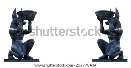 Egyptian ancient art Anubis Sculpture  Figurine Statue  - stock photo
