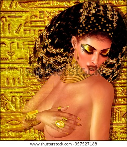 Egyptian braids, beads, beauty and gold all wrapped up in our digital art fantasy scene. This seductive woman poses against a unique gold abstract backgrounds as well and makes the scene even richer. - stock photo