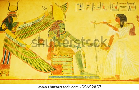 Egyptian concept with drawings on the wall - stock photo