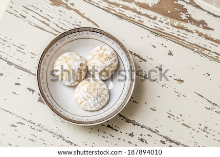 "Egyptian cookies ""Kahk El Eid"" with granulated sugar - stock photo"