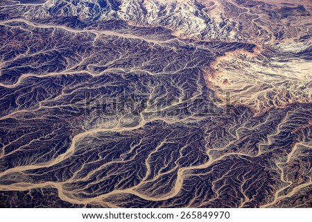Egyptian Desert - aerial View - stock photo
