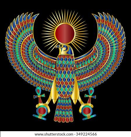 Egyptian Falcon Broach Large Gemstone Gradients Stock Illustration