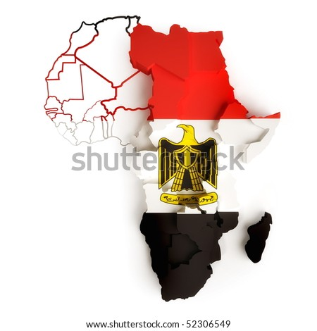 Egyptian flag on map of Africa with national borders - stock photo