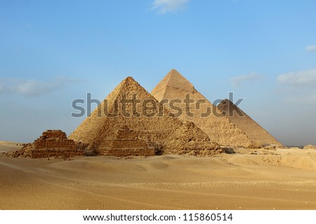 Egyptian Giza three pyramids - stock photo
