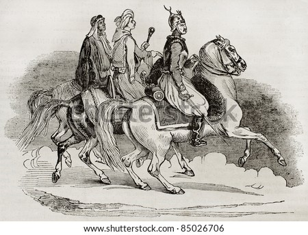 Egyptian knights old illustration. Created by Goupil, published on Magasin Pittoresque, Paris, 1840 - stock photo