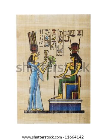 egyptian papyrus isolated on white - stock photo