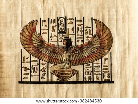 Egyptian parchment which depicts the ancient God - stock photo