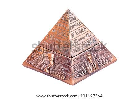 Egyptian pyramid, on a white background - stock photo