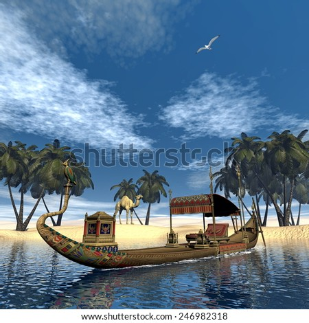 Egyptian sacred barge with throne floating on Nile river next to sand coast with palm trees and camel - 3D render - stock photo