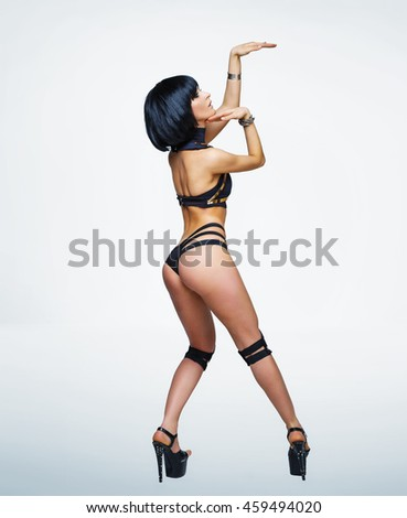 Egyptian sensual queen in pharaoh costume. Studio fashion shot - stock photo