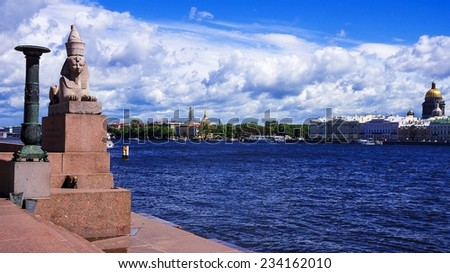 Egyptian Sphinx on the Neva Riverbank in St Petersburg - stock photo