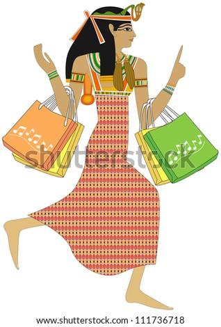 Egyptian woman - Shopping - stock photo