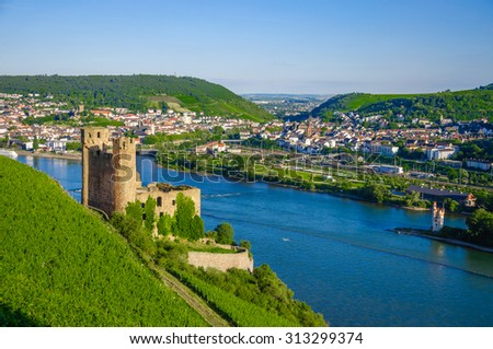 Ehrenfels Castle, Burg Ehrenfels on Rhine river near Ruedesheim and Bingen am Rhein, Hessen, Germany - stock photo