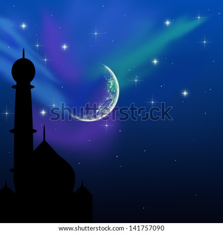 Eid illustration with a magical evening sky scene: silhouette of a mosque on a blue night sky with shiny stars and moon. - stock photo