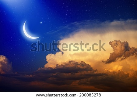 Eid Mubarak background with shiny moon and stars, holy month, Ramadan Kareem. Elements of this image furnished by NASA - stock photo
