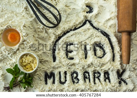 Eid Mubarak is a traditional Muslim greeting reserved for use on the Muslim festivals  - stock photo