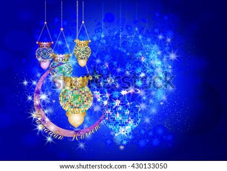 Eid Mubarak - muslim islamic holiday colorful eid fanous lanterns hanging with decorations, on stars and sparkles dark night background. Eid Al-Fitr festival. - stock photo