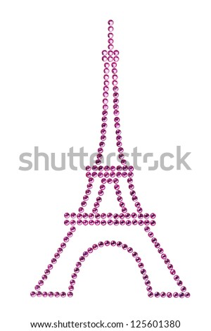 Eifel Tower in Pink made of Rhinestones over white