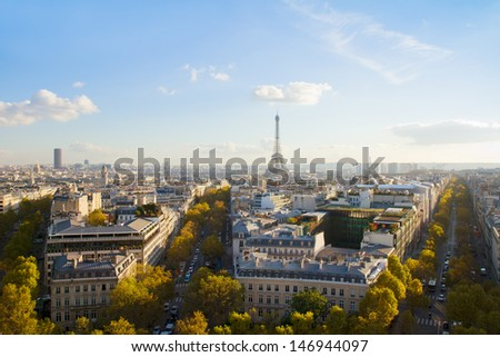 eiffel tour and Paris skyline in sunny day, France