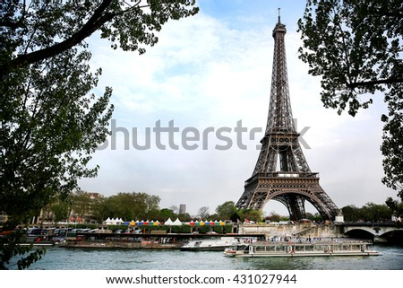 eiffel tour over Seine river waters at summer day, Paris, France - stock photo