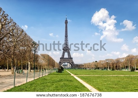 Eiffel Tower and Field of Mars in perspective