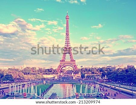 Eiffel Tower and fountain at Jardins du Trocadero, Paris, France. Travel background with retro vintage instagram filter - stock photo