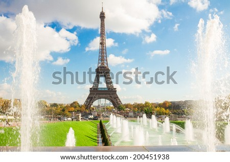 Eiffel Tower and fountains of Trocadero, Paris,  France - stock photo