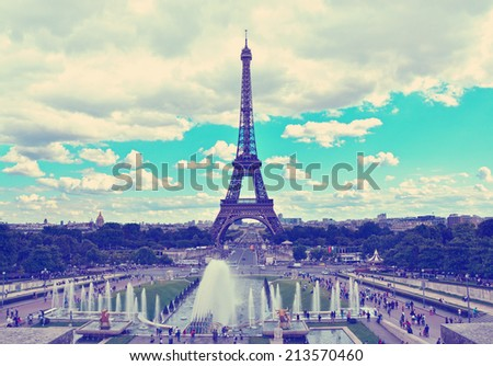 Eiffel Tower and fountains of Trocadero, Paris, France. Travel background with retro vintage instagram filter - stock photo