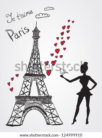 Eiffel tower and girl with bird - stock photo