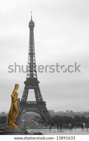 eiffel-tower and gold statue from Trocadera