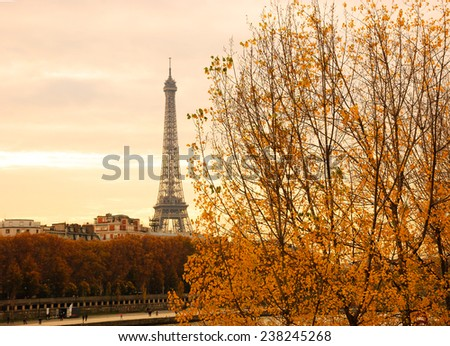 Eiffel tower and golden autumnal trees at sunset. - stock photo