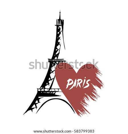 eiffel tower and heart cupid shooting with hearts paris illustration valentines day