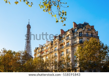 Eiffel Tower and historic buildings in Paris, France