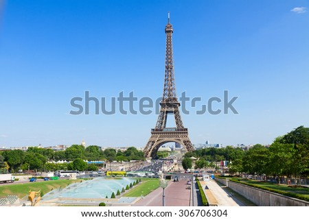 Eiffel Tower  and Paris cityscape in summer sunny day, France - stock photo