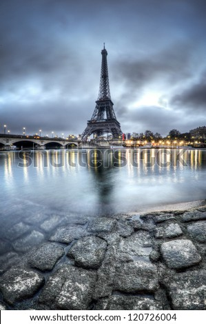 Eiffel Tower and Seine River in Paris - France - stock photo