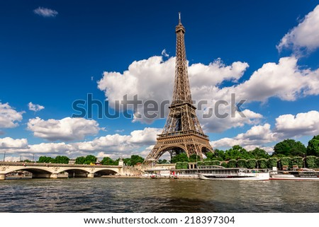 Eiffel Tower and Seine River in Paris, France - stock photo