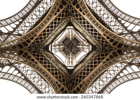 Eiffel Tower architecture detail, bottom view. unique angle - stock photo