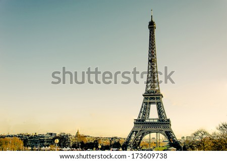 Eiffel Tower at day in Paris, France. Vintage Photos