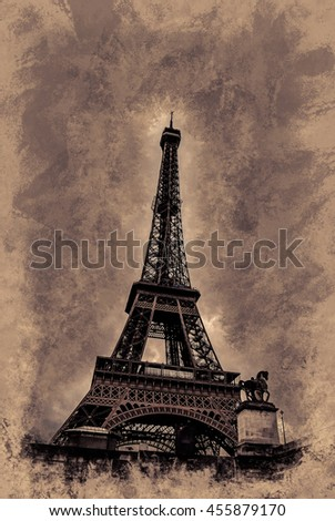 Eiffel tower at dusk, above clouds. viewd from Seine. Modern painting, background illustration, beautiful picture, creative image. - stock photo