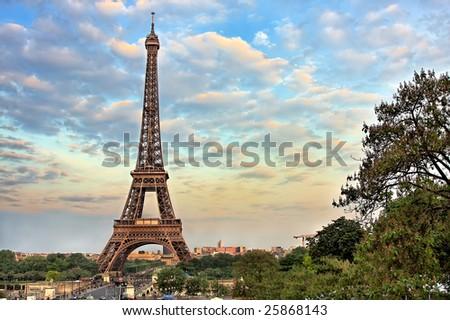 Eiffel Tower at evening, Paris, France - stock photo