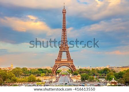 Eiffel Tower at summer sunny evening, Paris - stock photo