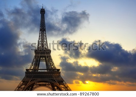 Eiffel tower at sundown, Paris, France - stock photo
