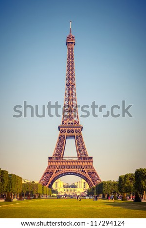 Eiffel Tower at sunny day, Paris - stock photo