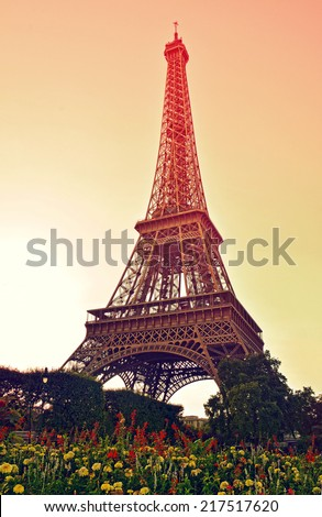 Eiffel Tower at sunset, Paris, France - stock photo