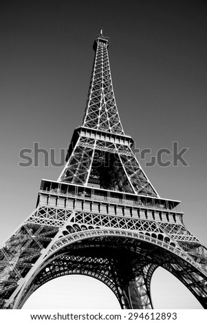 Eiffel tower black and white picture.