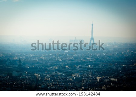 Eiffel Tower cityscape in Paris France