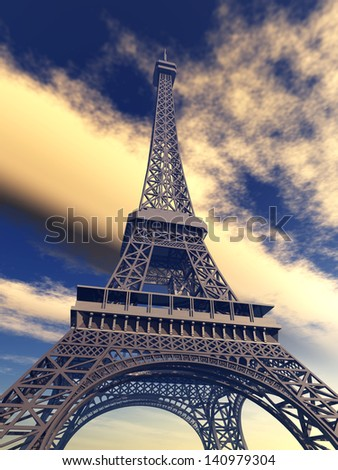 Eiffel Tower Computer generated 3D illustration - stock photo