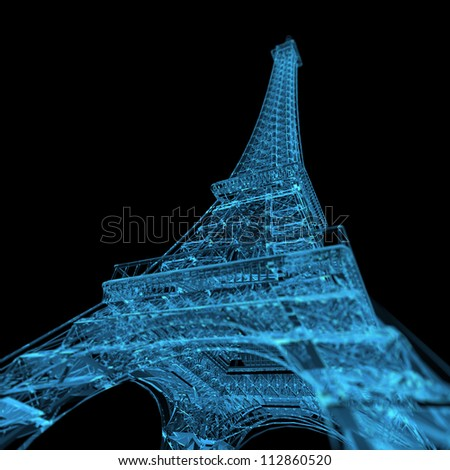 Eiffel Tower (3D xray blue transparent) - stock photo