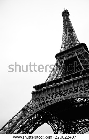Eiffel Tower from a low angle, Paris, France