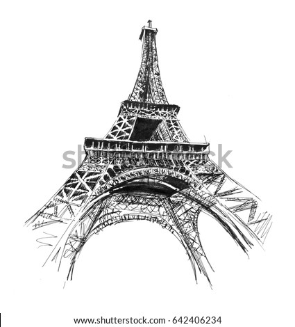 Sketch Of The Paris Eiffel Tower Stock Images Royalty-Free Images U0026 Vectors | Shutterstock